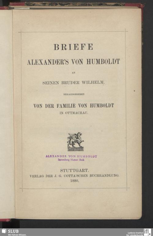 Vorschaubild von Briefe Alexander's von Humboldt an seinen Bruder Wilhelm