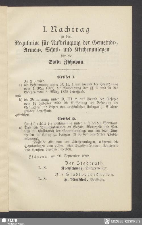 Vorschaubild von I. Nachtrag zu dem Regulative für Aufbringung der Gemeinde-, Armen-, Schul- und Kirchenanlagen für die Stadt Zschopau