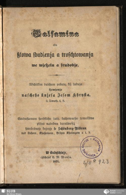 Vorschaubild von Balsamina abo ßłowa sbudżenja a troschtowanja we wjeßelu a srudobje