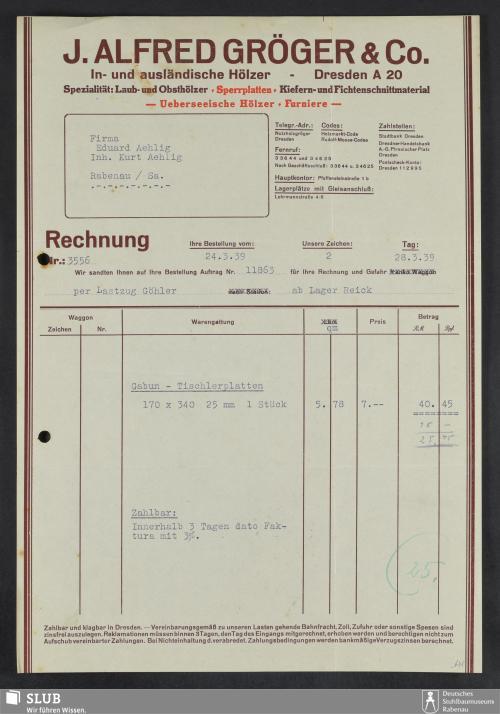 Vorschaubild von J. Alfred Gröger & Co., In- und ausländische Hölzer, Dresden