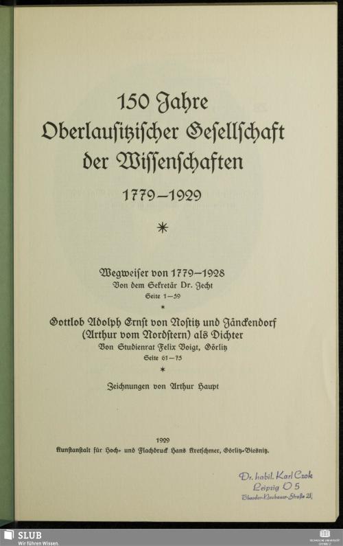 Vorschaubild von 150 Jahre Oberlausitzischer Gesellschaft der Wissenschaften