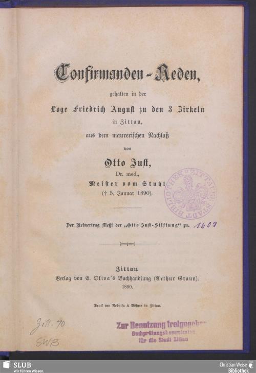 Vorschaubild von Confirmanden-Reden, gehalten in der Loge Friedrich August zu den 3 Zirkeln in Zittau