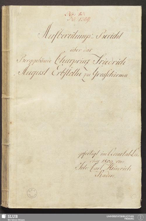 Vorschaubild von Aufbereitungs-Bericht über das Berggebäude Churprinz Friedrich August Erbstolln zu Grosschirma - 17.7209 4.