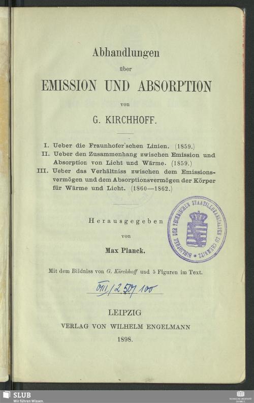 Vorschaubild von Abhandlungen über Emission und Absorption