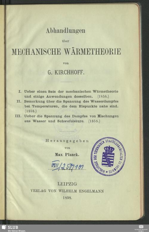 Vorschaubild von Abhandlungen über mechanische Wärmetheorie