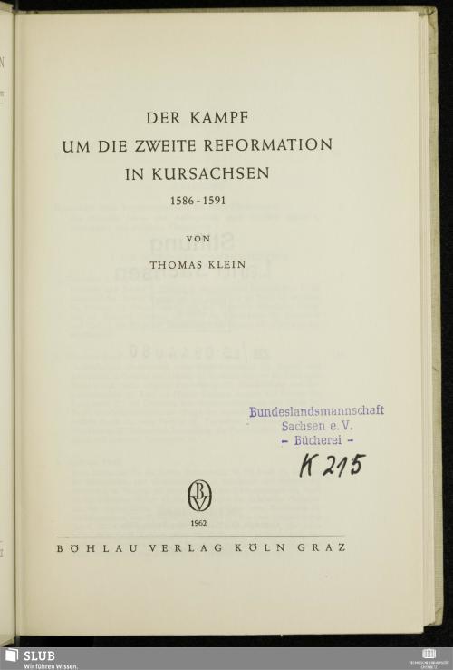 Vorschaubild von Der Kampf um die zweite Reformation in Kursachsen 1586 - 1591