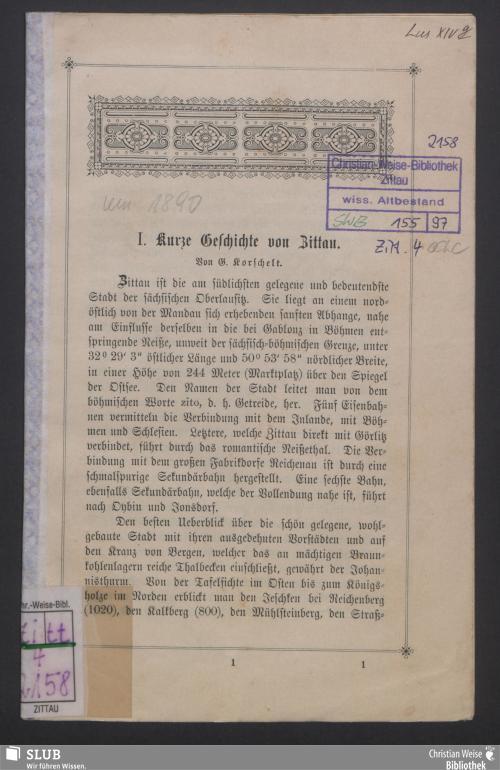 Vorschaubild von Kurze Geschichte von Zittau