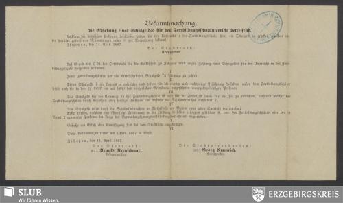 Vorschaubild von Bekanntmachung, die Erhebung eines Schulgeldes für den Fortbildungsschulunterricht betreffend
