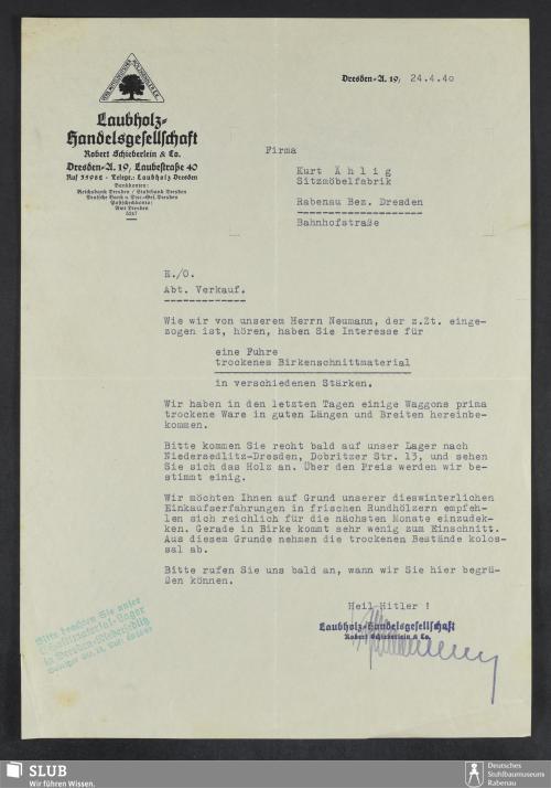 Vorschaubild von Laubholz-Handelsgesellschaft Robert Schieberlein & Co., Dresden-A.