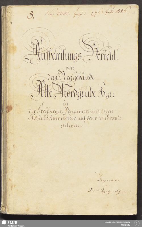 Vorschaubild von Aufbereitungs-Bericht von dem Berggebäude Alte Mordgrube Fdgr. in der Freyberger-Bergamts- und deren Hohenbirkner Refier, auf den obern Brande gelegen - 18.6657 4.