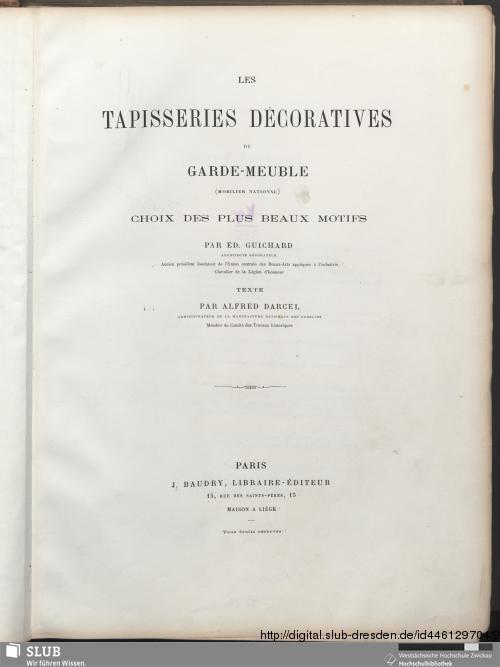 Vorschaubild von Les Tapisseries Décoratives Du Garde-Meuble