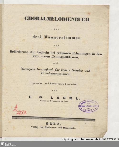 Vorschaubild von Choralmelodienbuch für drei Männerstimmen