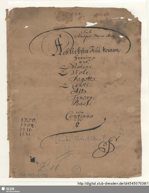 Vorschaubild von Ach liebster Jesu komm herein - Mus.1896-E-502