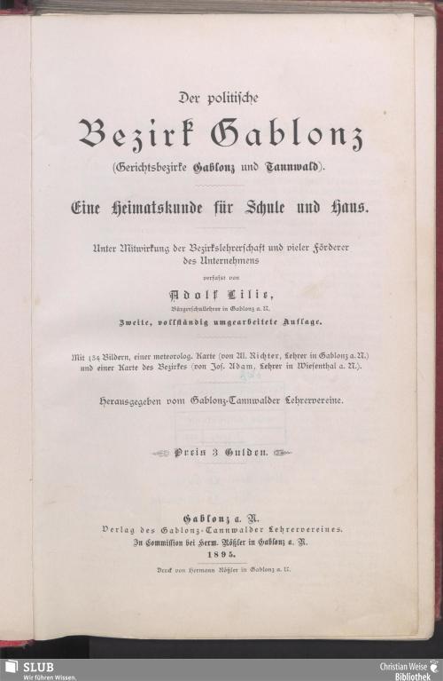 Vorschaubild von Der politische Bezirk Gablonz