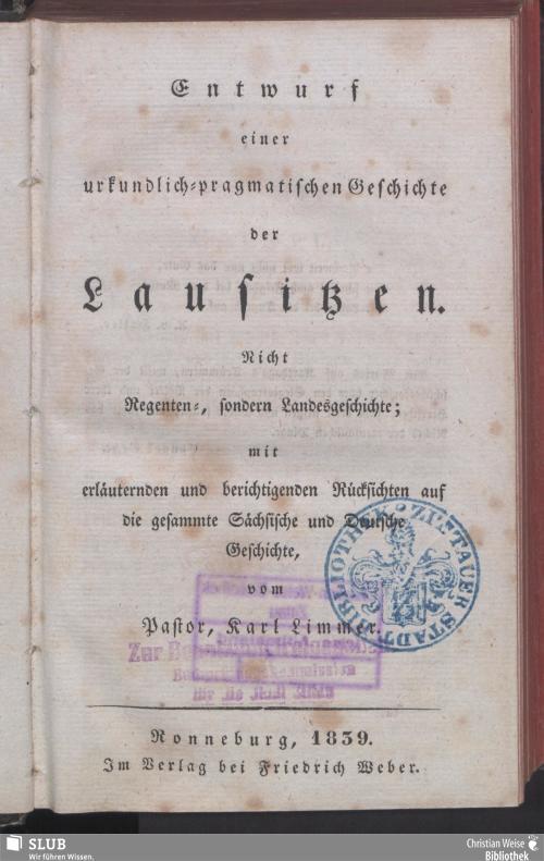 Vorschaubild von Entwurf einer urkundlich-pragmatischen Geschichte der Lausitzen