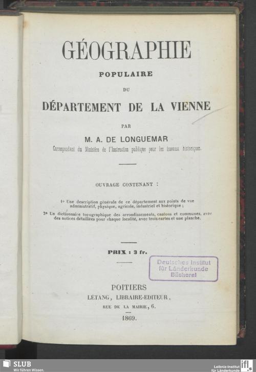 Vorschaubild von Géographie populaire du département de la Vienne