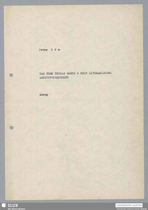 Vorschaubild von Das Werk Thomas Manns - mein literarischer Anknüpfungspunkt?