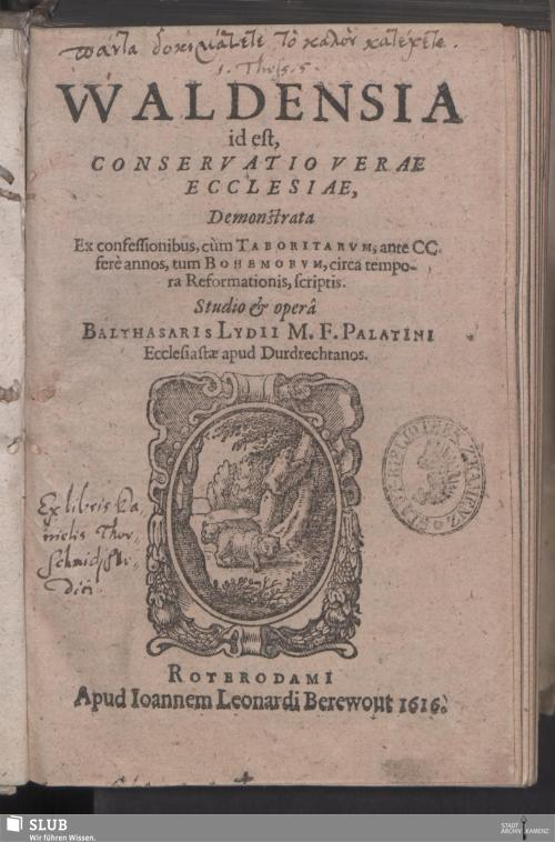 Vorschaubild von [Waldensia id est, Conservatio Verae Ecclesiae]
