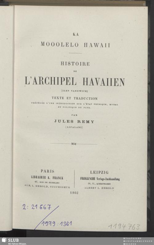 Vorschaubild von Histoire de l'Archipel Havaiien (Îles Sandwich)