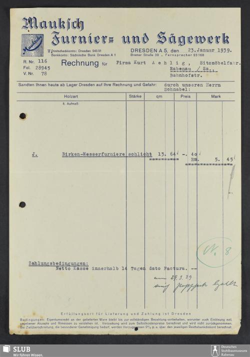 Vorschaubild von Mauksch, Furnier- und Sägewerk, Dresden A.