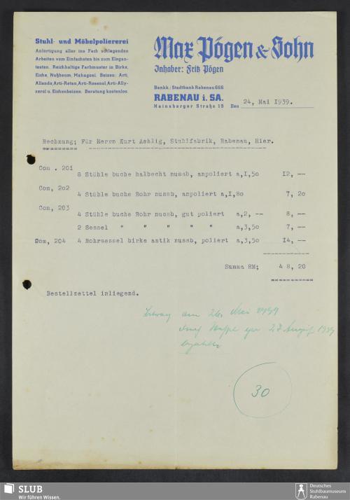Vorschaubild von Max Pögen & Sohn, Inhaber: Fritz Pögen, Rabenau i.Sa., Stuhl- und Möbelpoliererei