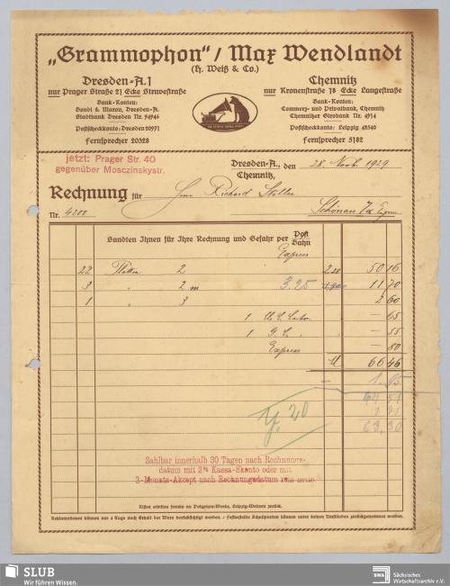 """Vorschaubild von """"Grammophon"""" Max Wendlandt, (H. Weiß & Co.), Dresden, Chemnitz"""