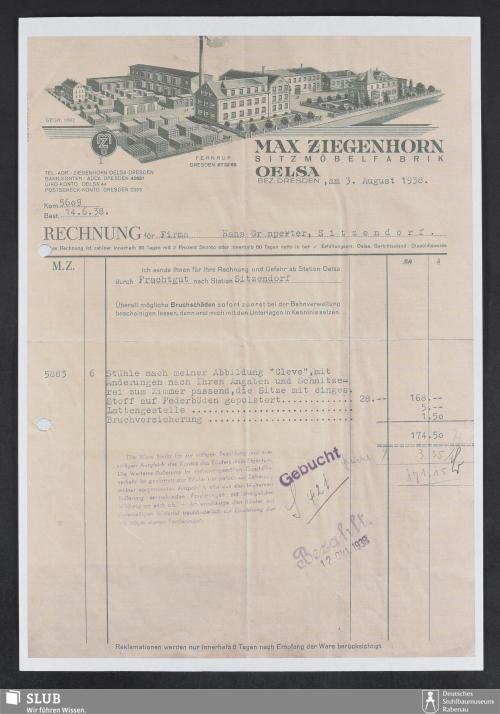 Vorschaubild von Max Ziegenhorn, Sitzmöbelfabrik, Oelsa