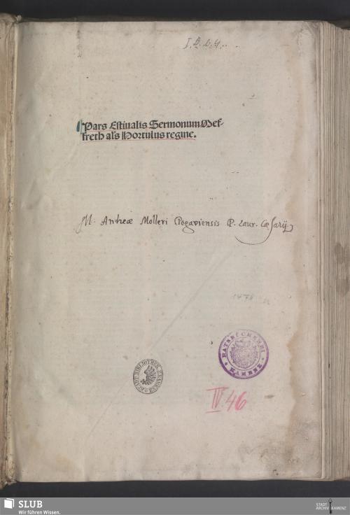 Vorschaubild von Pars estiualis sermonum Meffreth al[ia]s Hortulus regine