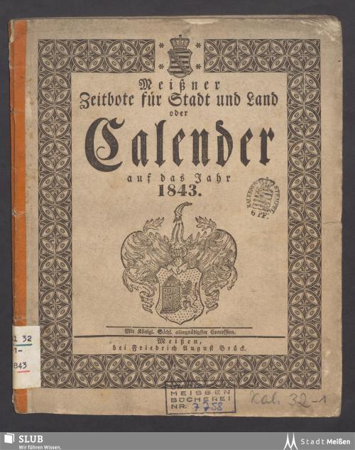 Vorschaubild von [Meißner Zeitbote für Stadt und Land oder: Kalender auf das Jahr ...]