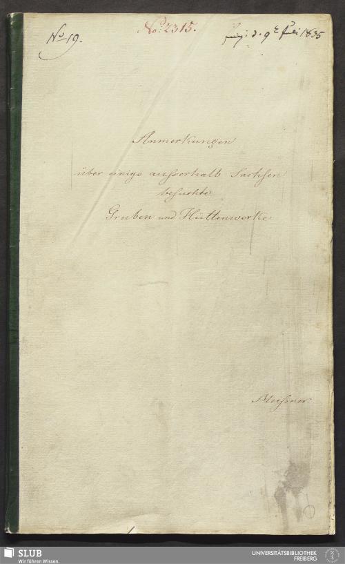 Vorschaubild von Anmerkungen über einige außerhalb Sachsen besuchte Gruben und Hüttenwerke - 18.6967 4.