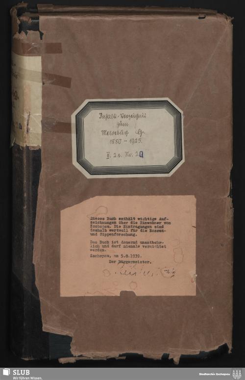 Vorschaubild von Inhaltsverzeichnis zum Meldebuch G - 4191