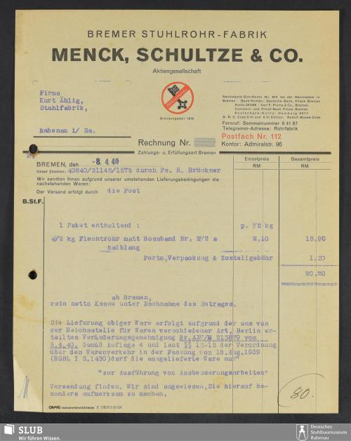 Vorschaubild von Menck, Schultze & Co. Aktiengesellschaft, Bremer Stuhlrohr-Fabrik