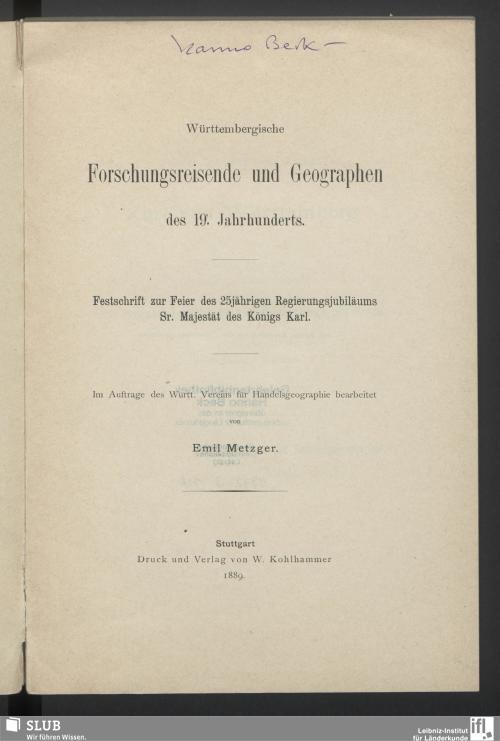 Vorschaubild von Württembergische Forschungsreisende und Geographen des 19. Jahrhunderts
