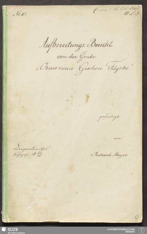 """Vorschaubild von Aufbereitungs-Bericht von der Grube """"Oberes neues Geschrei Fdgrbe."""" - 18.7160 4."""