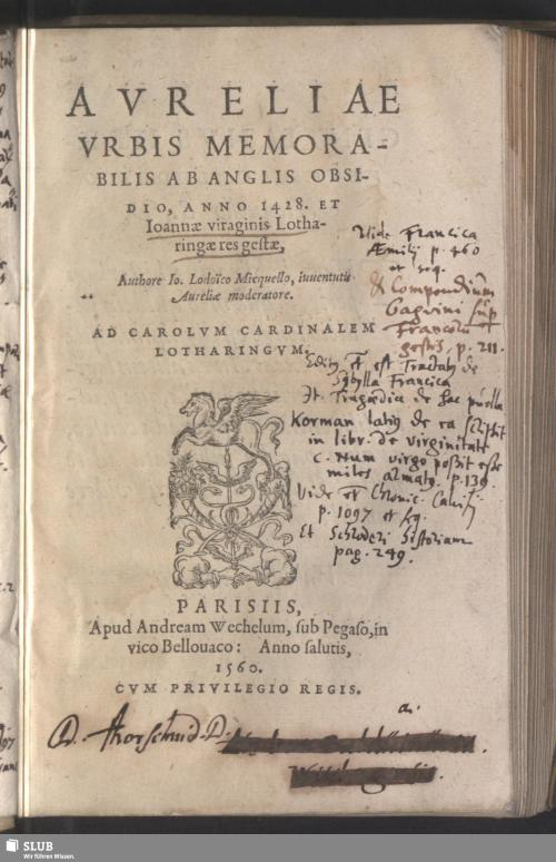 Vorschaubild von Avreliae Vrbis Memorabilis Ab Anglis Obsidio, Anno 1428. Et Ioannae viraginis Lotharingae res gestae