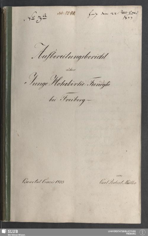Vorschaubild von Aufbereitungsbericht über Junge Hohebirke Fundgbe. bei Freiberg - 18.6893 4.