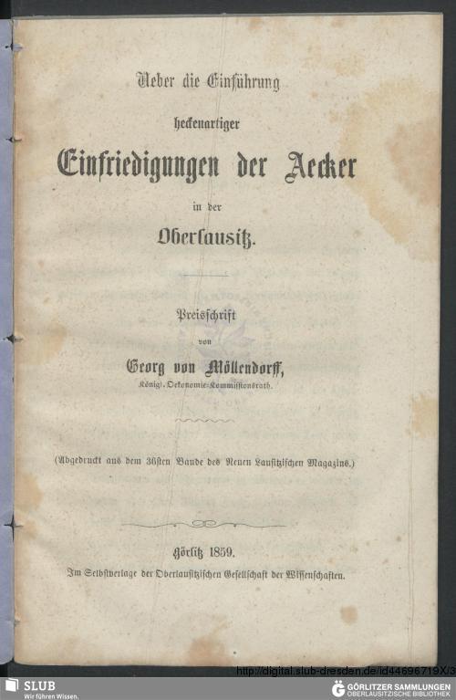 Vorschaubild von Ueber die Einführung heckenartiger Einfriedungen der Aecker in der Oberlausitz