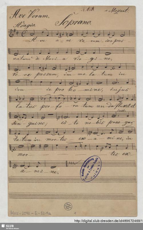 Vorschaubild von Ave verum corpus  - Mus.3972-E-521a