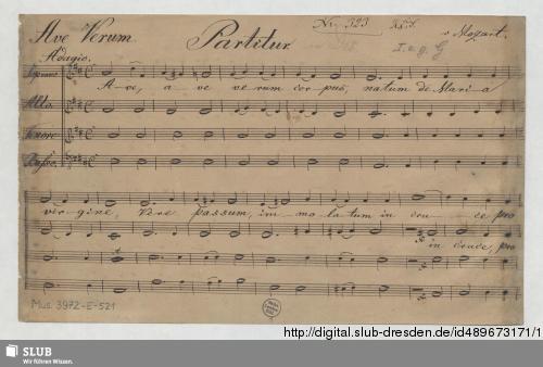 Vorschaubild von Ave verum corpus - Mus.3972-E-521
