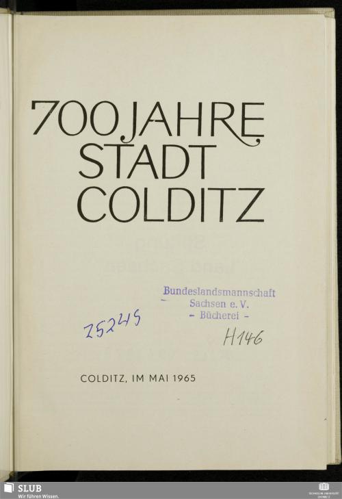 Vorschaubild von 700 Jahre Stadt Colditz