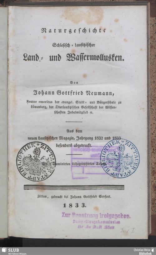 Vorschaubild von Naturgeschichte Schlesisch-Lausitzischer Land- und Wassermollusken