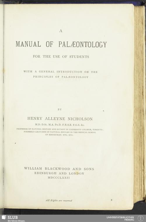 Vorschaubild von A manual of paleontology