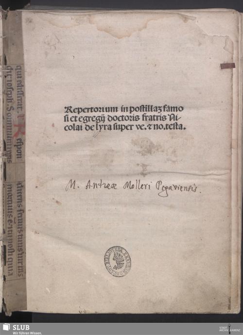 Vorschaubild von Repertorium in postilla[m] famosi et egregij doctoris fratris Nicolai de lyra super ve. [et] no. testa.