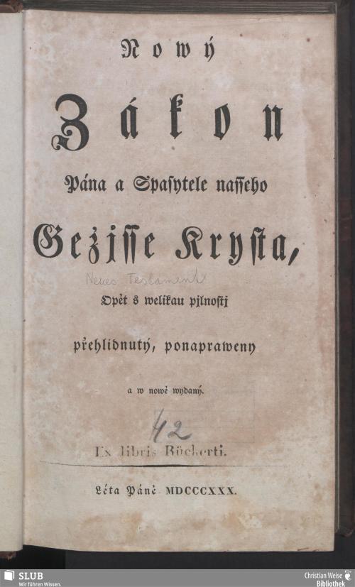 Vorschaubild von Nowý Zákon Pána y Spasytele nasseho Gezisse Krysta