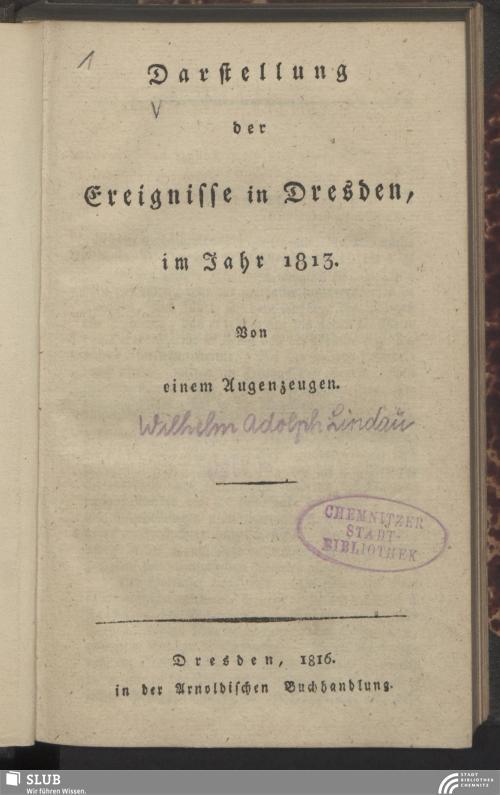 Vorschaubild von Darstellung der Ereignisse in Dresden im Jahr 1813