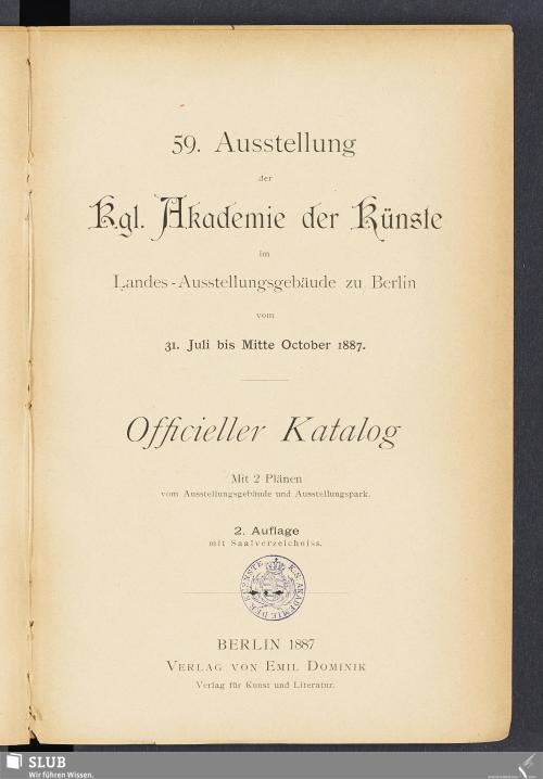 Vorschaubild von 59. Ausstellung der Kgl. Akadamie der Künste
