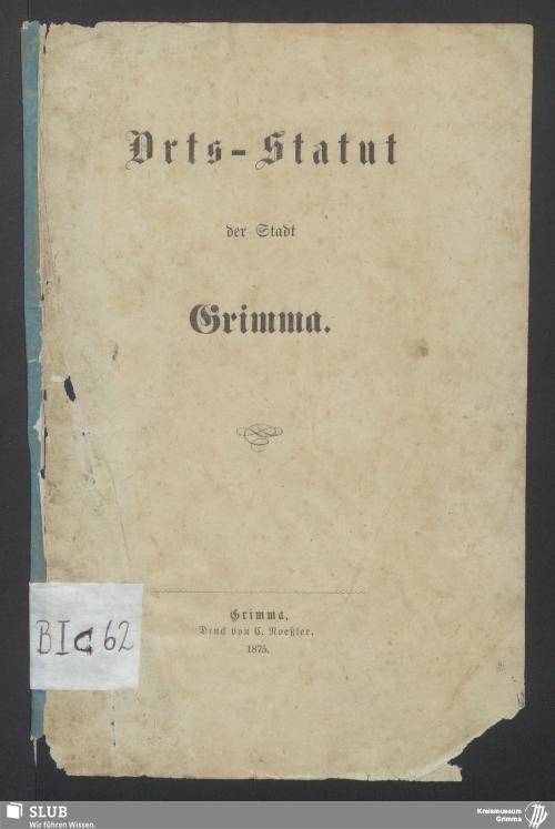 Vorschaubild von Orts-Statut für die Stadt Grimma
