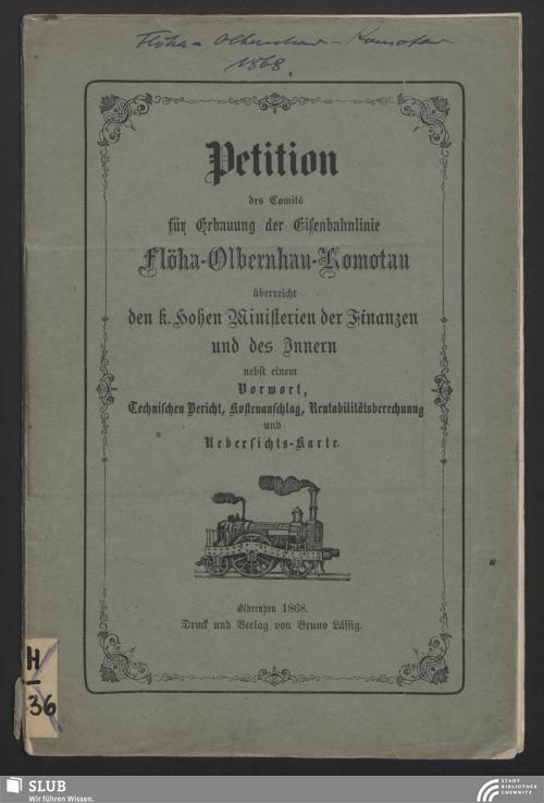 Vorschaubild von Petition des Comité für Erbauung der Eisenbahnlinie Flöha-Olbernhau-Komotau