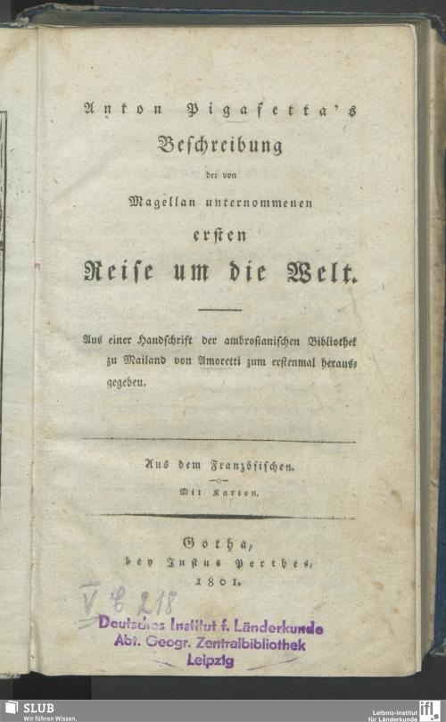 Vorschaubild von Anton Pigafetta's Beschreibung der von Magellan unternommenen ersten Reise um die Welt