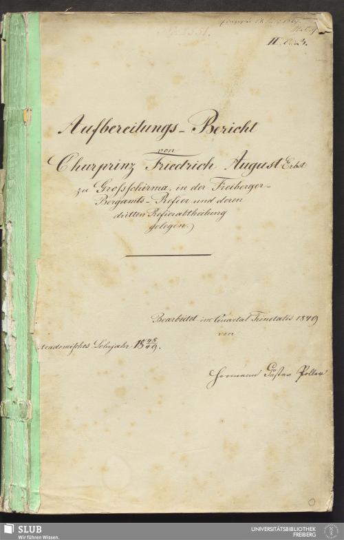 Vorschaubild von Aufbereitungs-Bericht von Churprinz Friedrich August Erbst: zu Großschirma, in der Freiberger Bergamts-Refier und deren dritten Refierabtheilung gelegen - 18.7203 4.